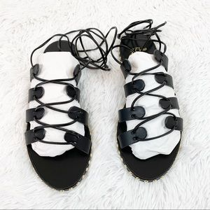 J Crew Studded lace up wrap gladiator sandals